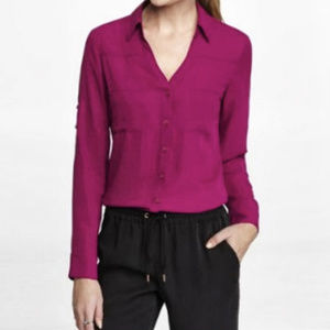 Express Convertible Sleeve Portofino Shirt - Berry